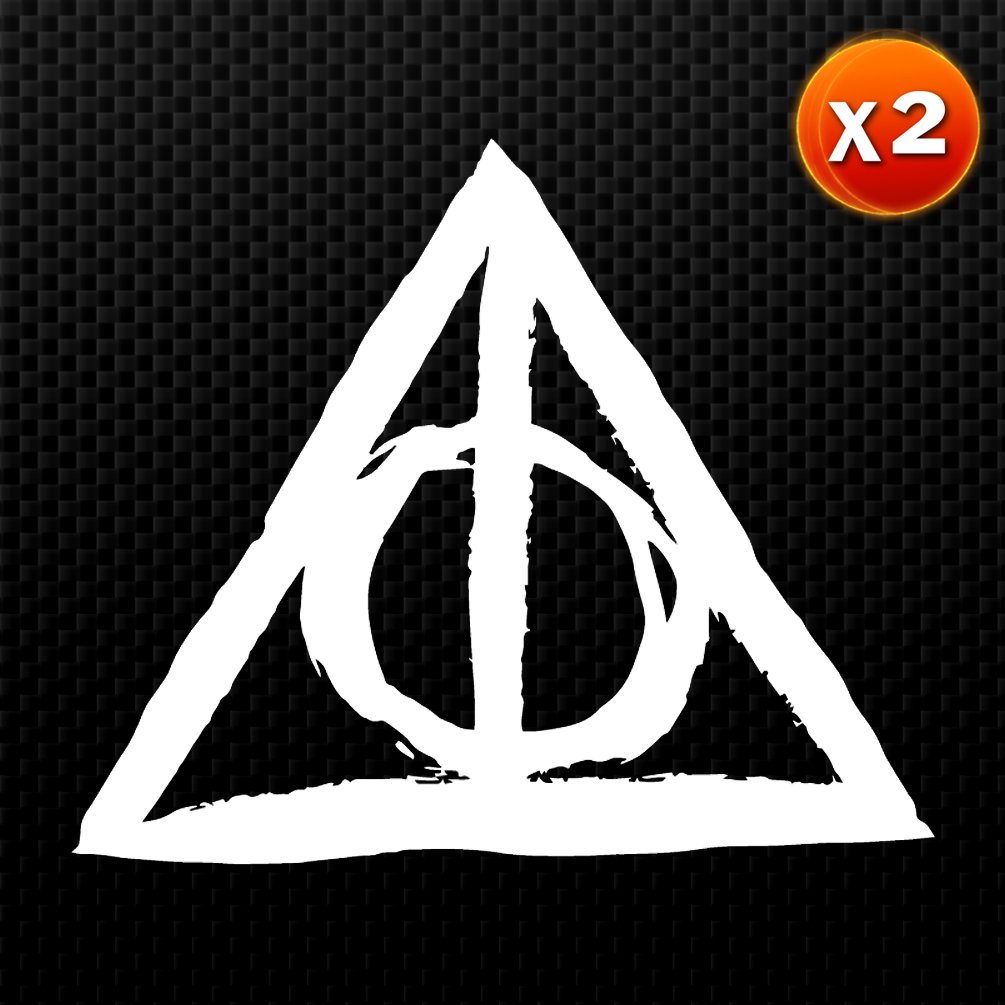 Amazon 2x deathly hallows triangle line and circle harry amazon 2x deathly hallows triangle line and circle harry potter inspired symbol car sticker auto emblem vinyl decal white 55 cd 0356 sports buycottarizona Image collections