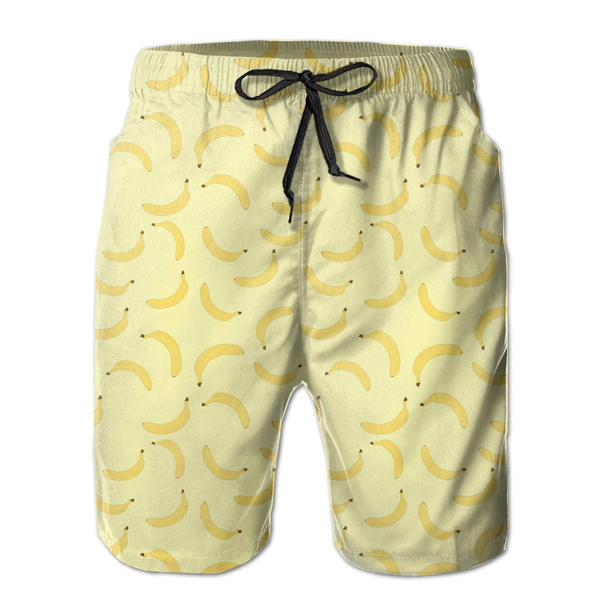 Banana As Background Pattern Mens Lightweight Beach Shorts Sports Runnning Pockets Beachwear