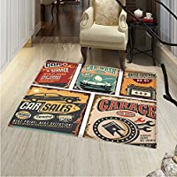 Vintage Print Area Rug Nostalgic Art Auto Service Garage Funk Style Highway Logo Repair Road Grunge Design Perfect Any Room, Floor Carpet 4x6 Multicolor