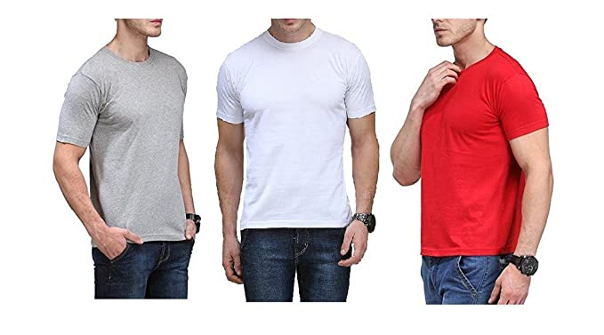 532310a515f M.O.D Men Comfort Soft Premium Cotton Basic Round Neck Half Sleeve Solid T- Shirts with Solid Colour t-Shirt for Men - Pack of 3