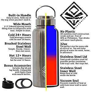 32oz Vacuum Bottle & Stainless Steel Lid -NO PLASTIC No Straw- Wide Mouth Double Wall Insulated Water Jug and Bonus: Flip Lid & Lug Handle (hydro flask compatible) EKOTOLOGY Vesuvius 32 oz/0.95 liter