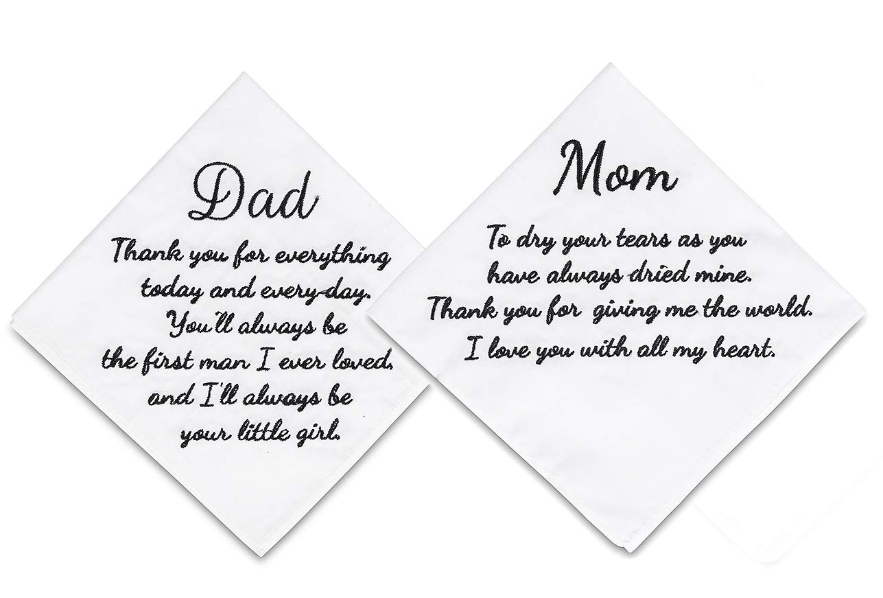 ECOHIP 2-Pack Wedding Handkerchief Embroidered Mother of The Bride Father hankies for Dad Mom Parents Gift