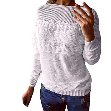 f4447ef01d6dc6 ZHRUI Pullover Sweater Damen Sweatshirt, Bluse Winter Frauen Winter  Gestrickte Einfarbig Trägerlosen Trägerlosen Verdrehten Langarm