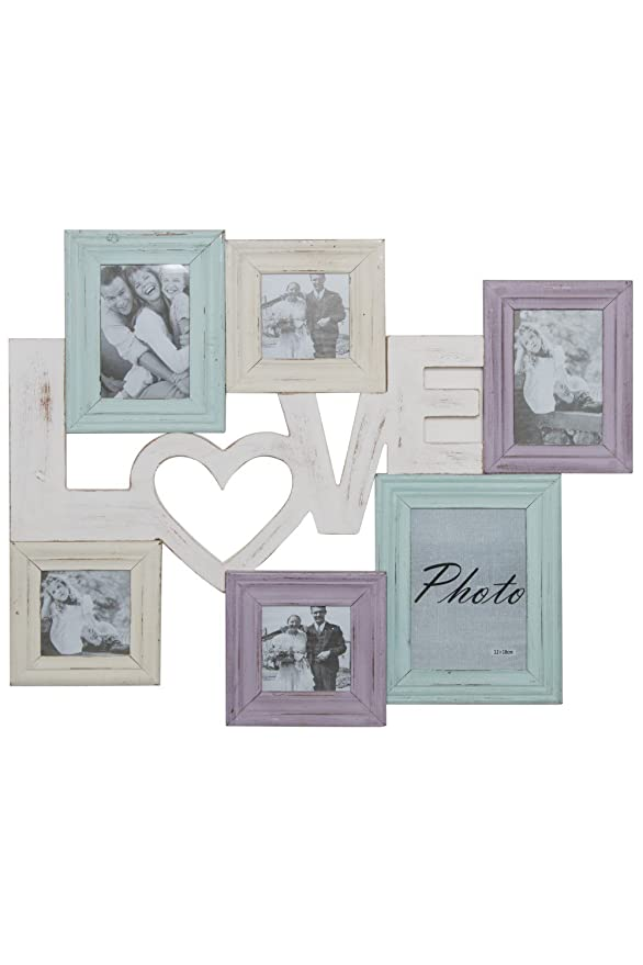 elbmöbel Fotorahmen Collage Love Home Family Shabby chic bunt ...