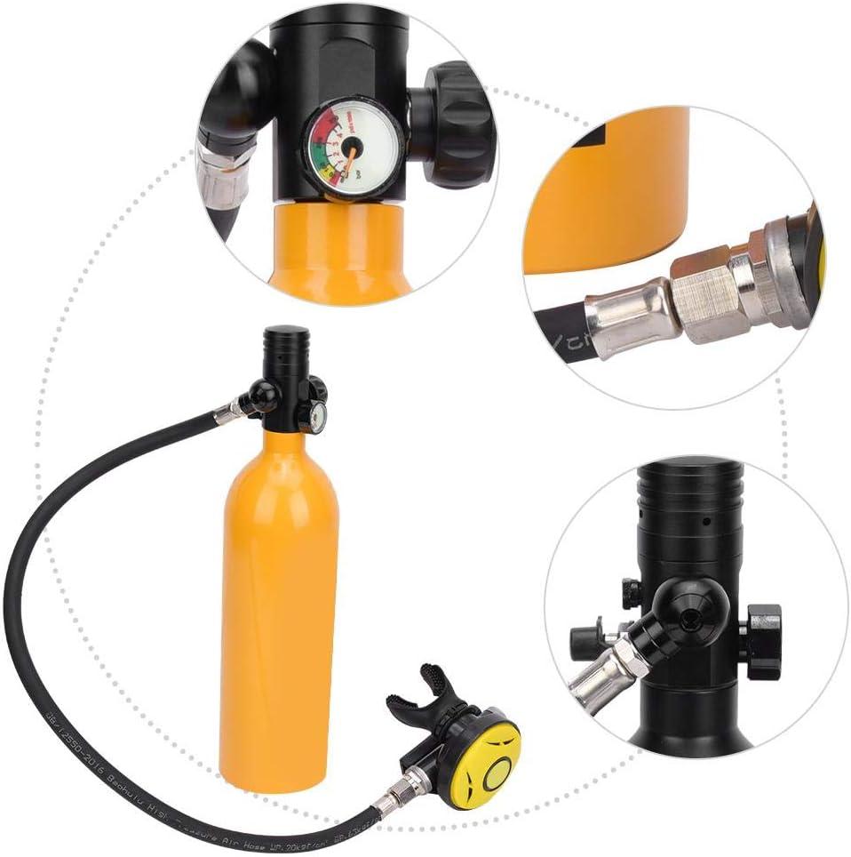 Amarillo Cilindro de ox/ígeno de Buceo de Aluminio Adaptador de Repuesto para respirador de esn/órquel Mini Cilindro de Buceo de 1L con Capacidad de 15-20 Minutos Equipo de Tanque de Buceo