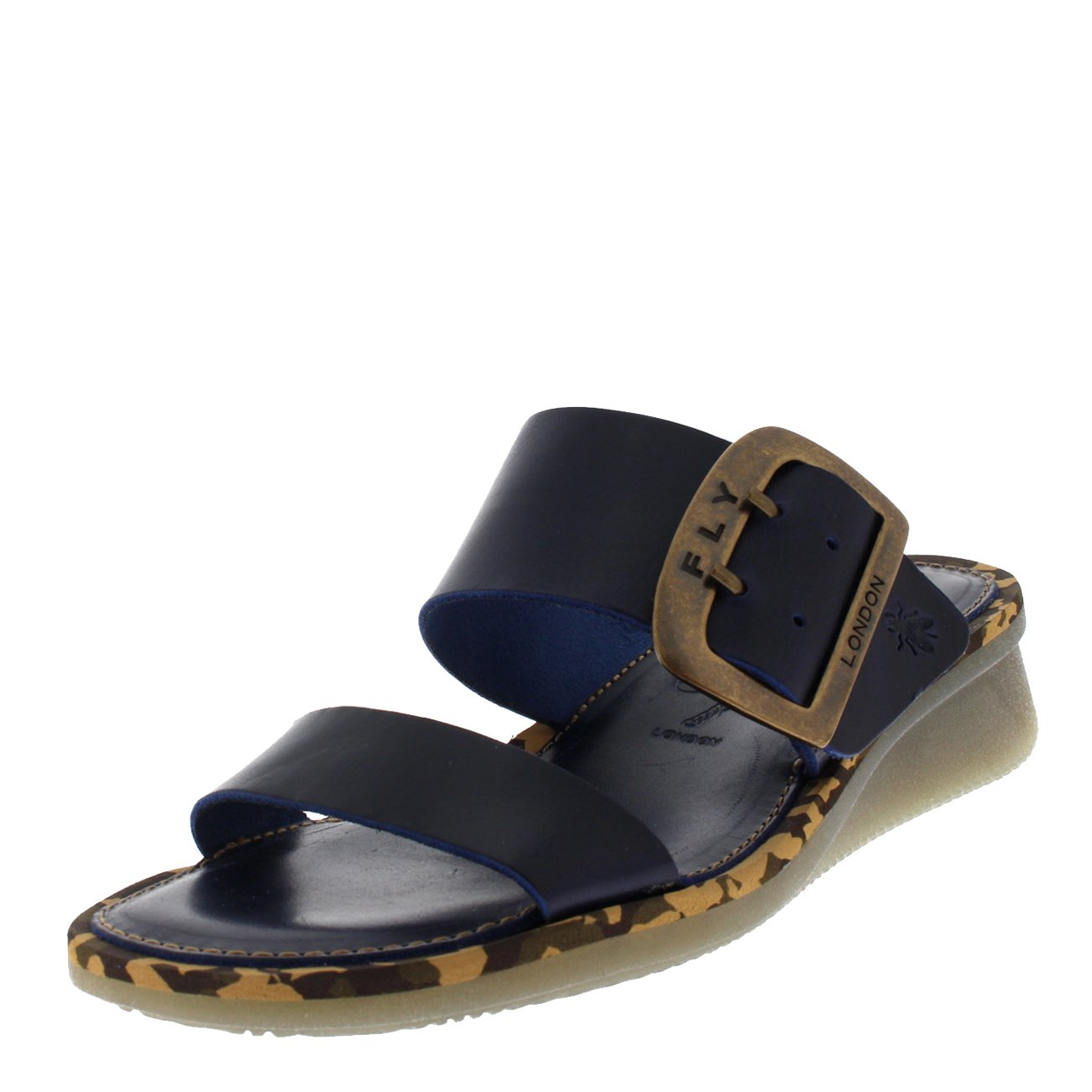 FLY London Womens Cape Beach Leather Summer Holiday Sandal Wedge Heel - Bridle Blue - 8