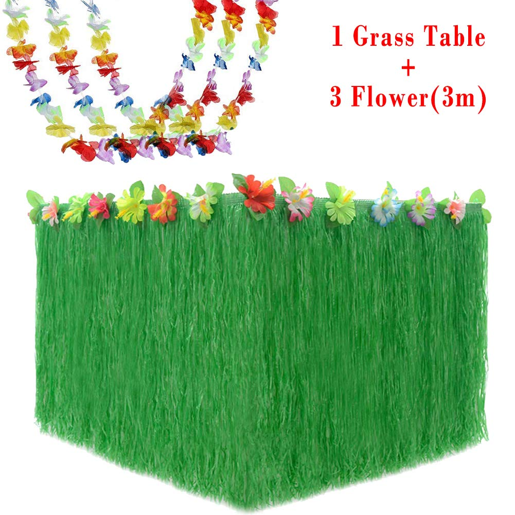 Jijie Hawaiian Luau Party Supplies Set,Colorful/ Tropical 9 Ft Grass Table Skirt and 30 Ft Flower Lei Garland Party Decorations