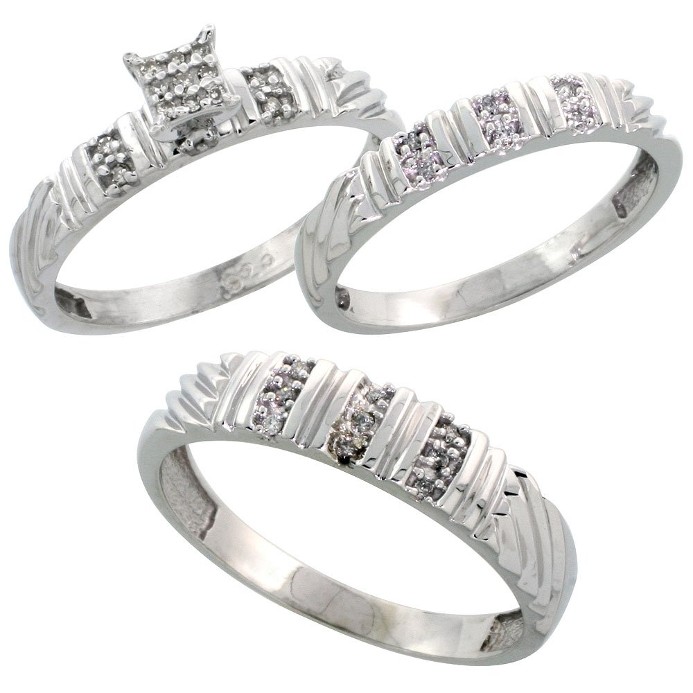 Sterling Silver Diamond Trio Wedding Ring Set His 5mm & Hers 3.5mm Rhodium finish, Ladies Size 8.5