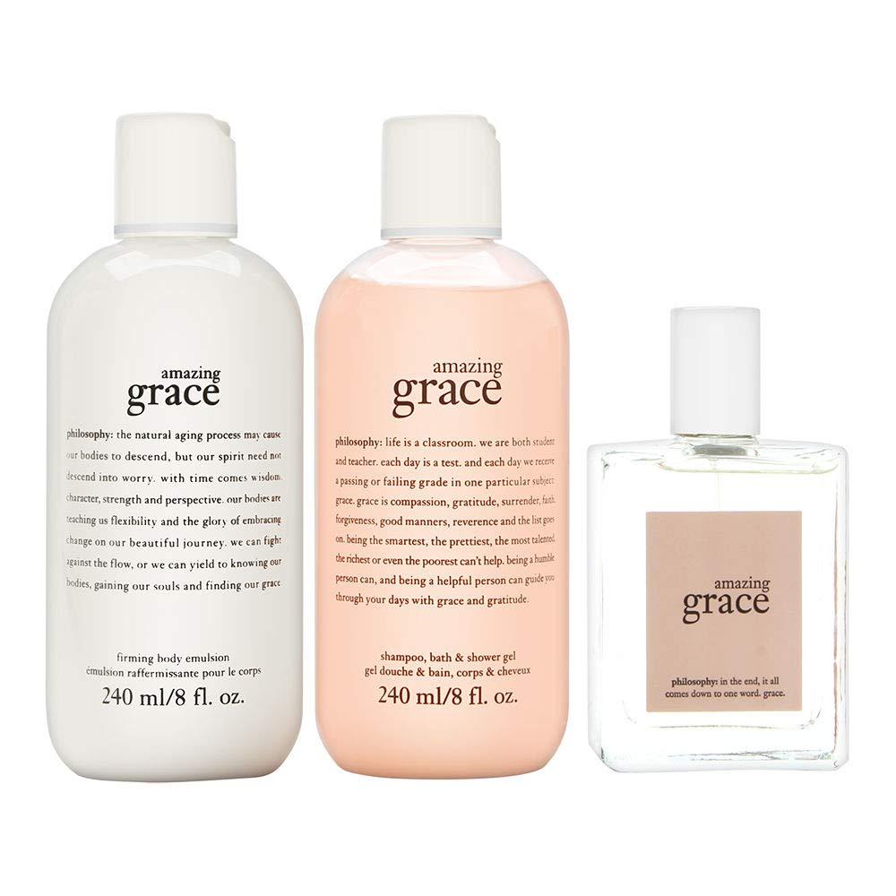 Philosophy Amazing Grace Set 3 Piece Set: 2 oz Eau de Toilette Spray + 8 oz Body Emulsion + 8 oz Shower Gel