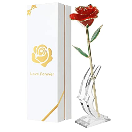 Childom Mom Gift 24K Gold Dipped Red Rose Made From Real Flower With Stand