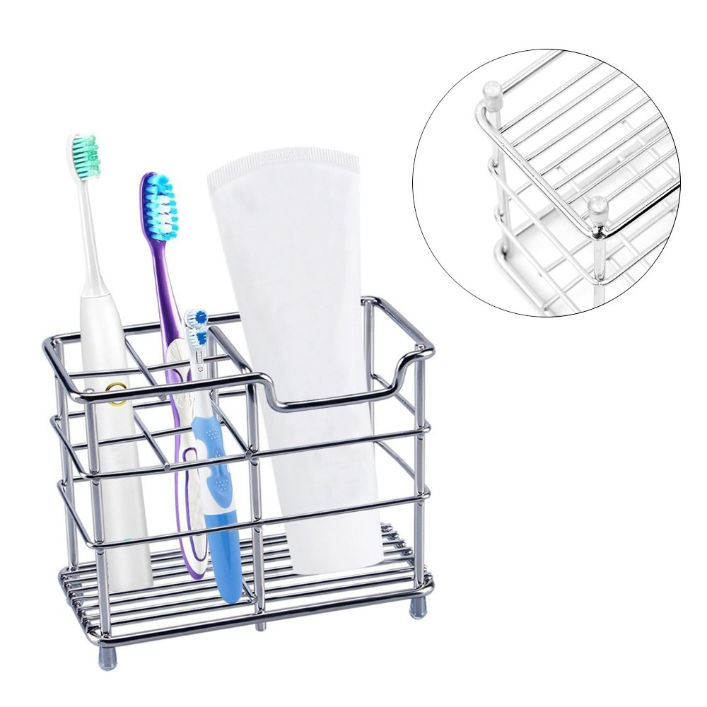 Stainless Steel Toothbrush Holder Bathroom Storage Organizer Stand Rack for Toothpaste Toothbrush 5 Slots Groupcow