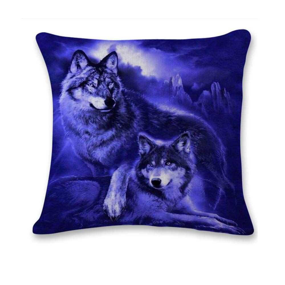 Pgojuni Cute Wolf Tower Flax Pillowcase Decoration Throw Pillow Cover Cushion Cover Pillow Case for Sofa/Couch 1pc (B)