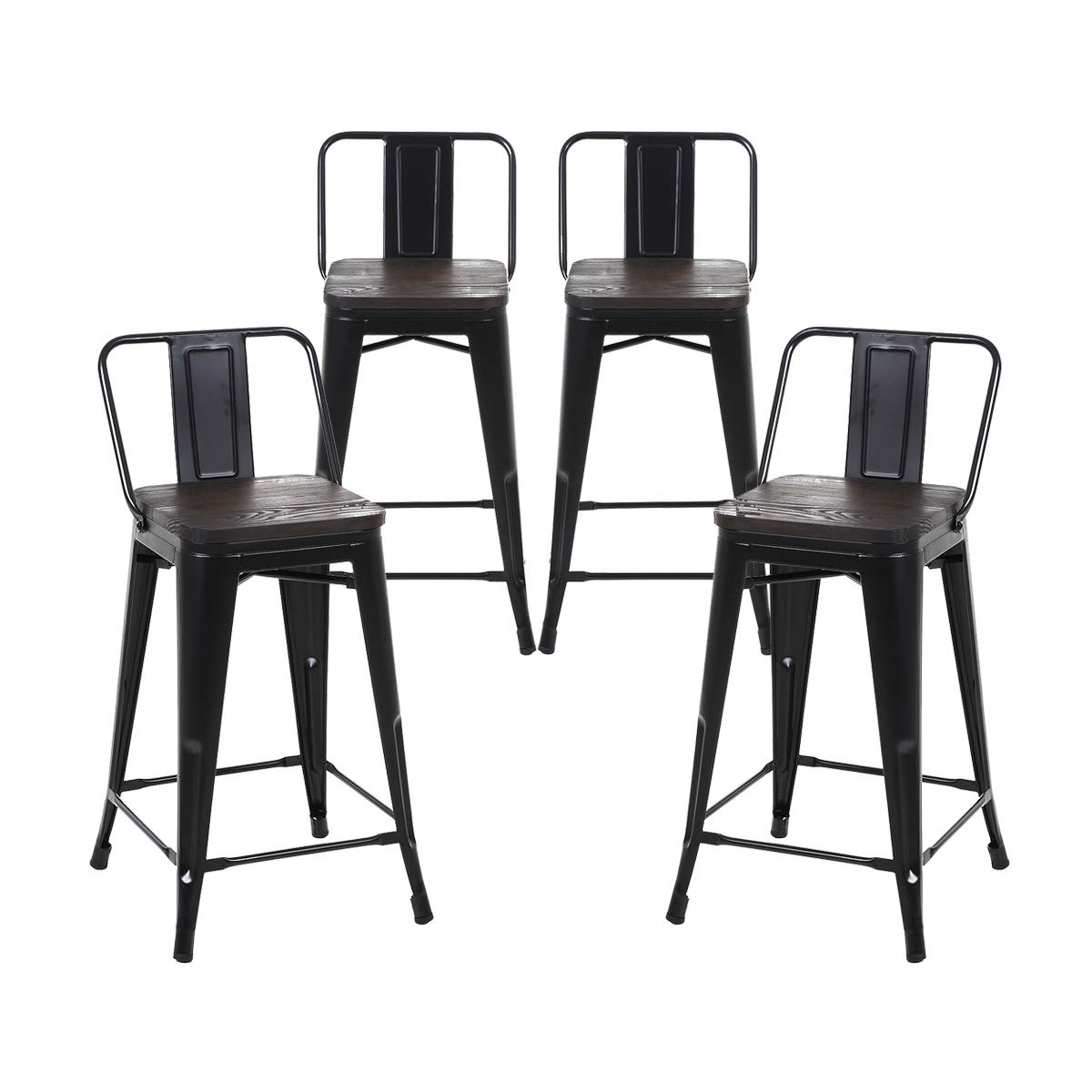 Buschman Set of 4 Matte Black Wooden Seat 24 Inch Counter Height Metal Bar Stools with Medium Back, Indoor Outdoor