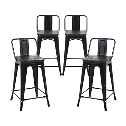 Amazoncom Buschman Set Of 4 Matte Black Wooden Seat 24 Inch