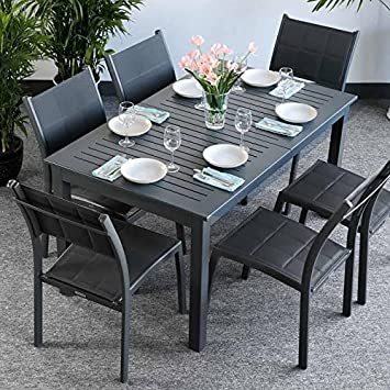 Amazon De Lottie Tisch 6 Stuhle Grau Gartenmobel Set