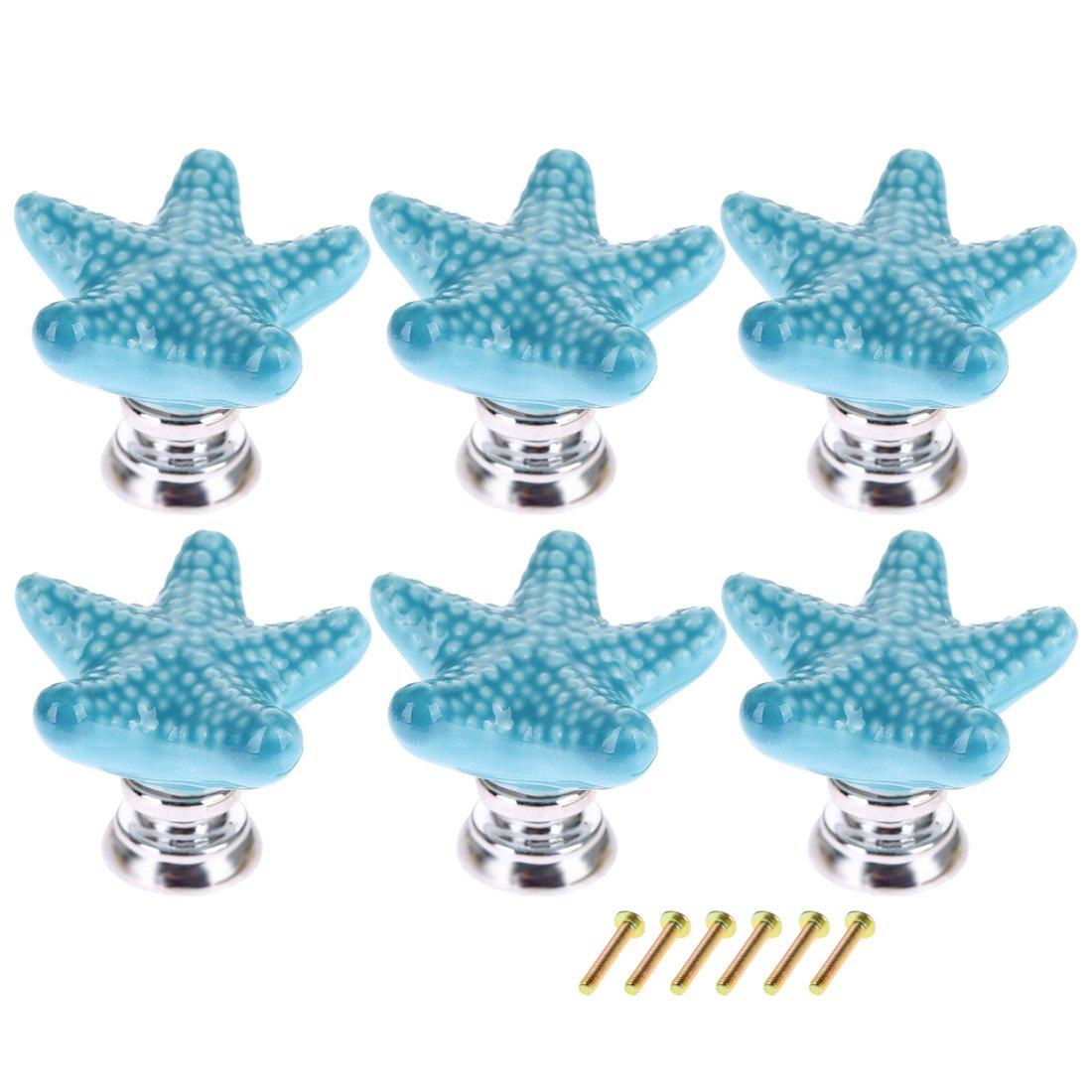XSHION 6pcs Children's Furniture Drawer Handles Ceramic Starfish Shaped (BLUE)