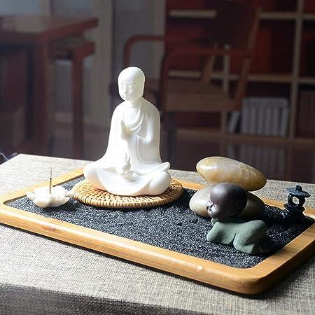 Laogg Jardin Zen Fengshui Elaboradamente Zen Jardín Estatua Buda Arena Meditación Pacífica Relax Yoga Decoración Conjunto Patio Cultura Paisaje Arena Mesa Decoración de Escritorio: Amazon.es: Hogar