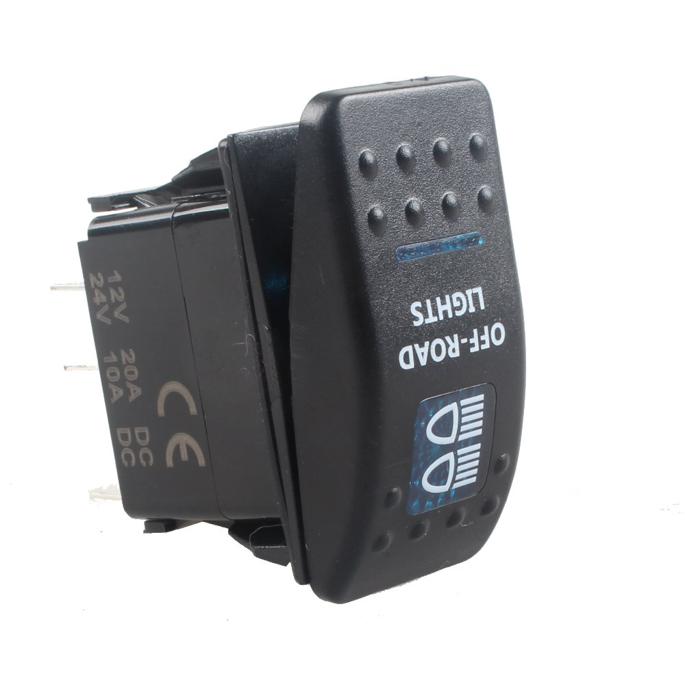 E Support/™ 12V 20A Bar Rocker Toggle Switch Blue LED Off Road Light Car Boat 5Pin