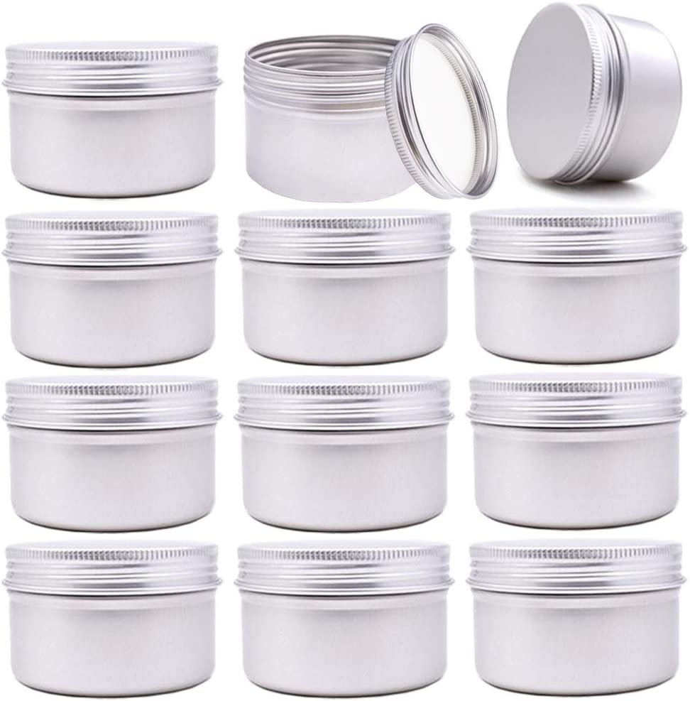 12 Pack 4-Ounce Round Metal Tins with Lids Aluminum Empty Candle Tins,Screw Top Aluminum Tin Cans Gram Jar for Gifts,Candle Making,Arts & Crafts,Spicese,Food