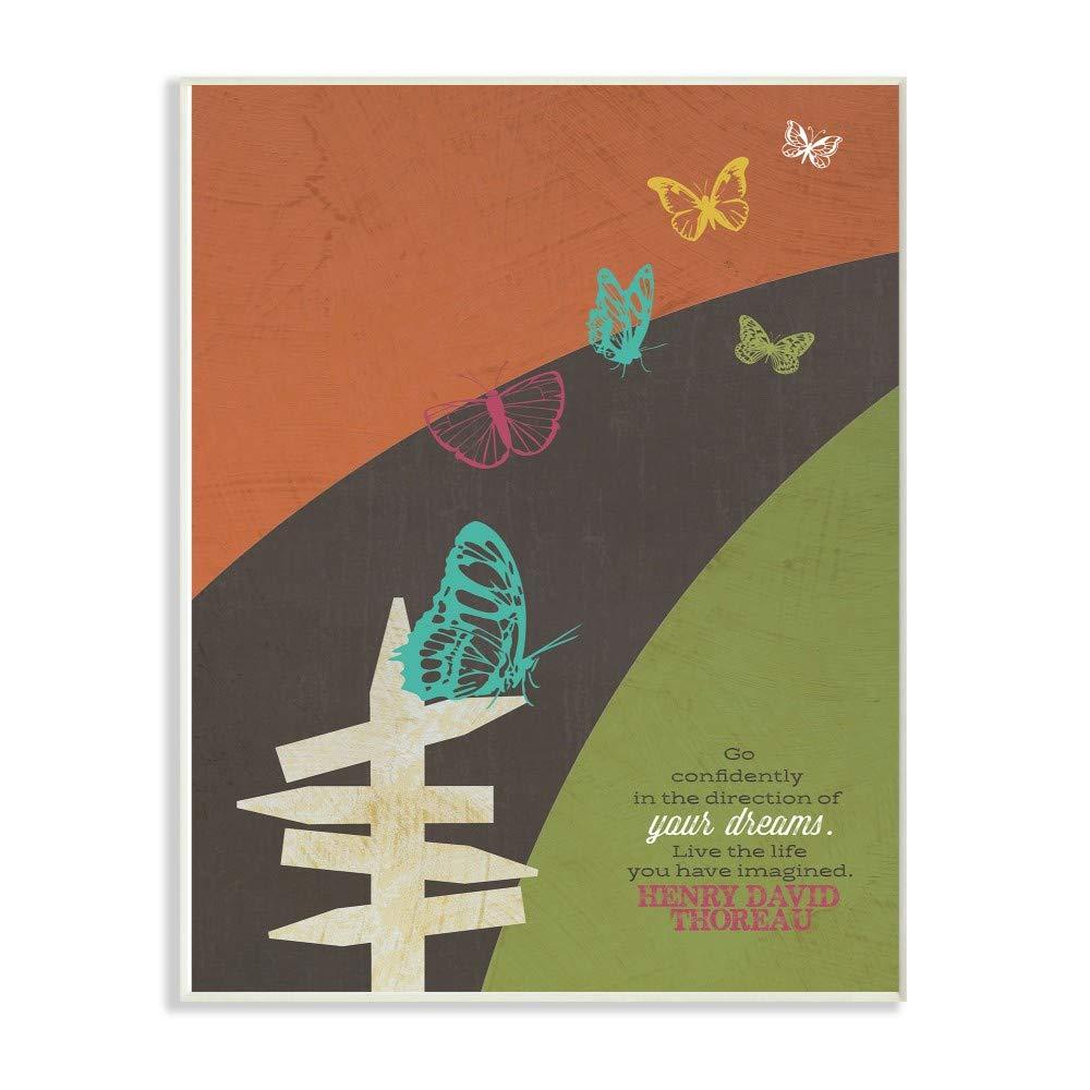 The Stupell ホームデココレクション Thoreau Dreams 引用句 レインボーサインポスト 蝶のウォールプレートアート マルチカラー   B07K1XNY2V