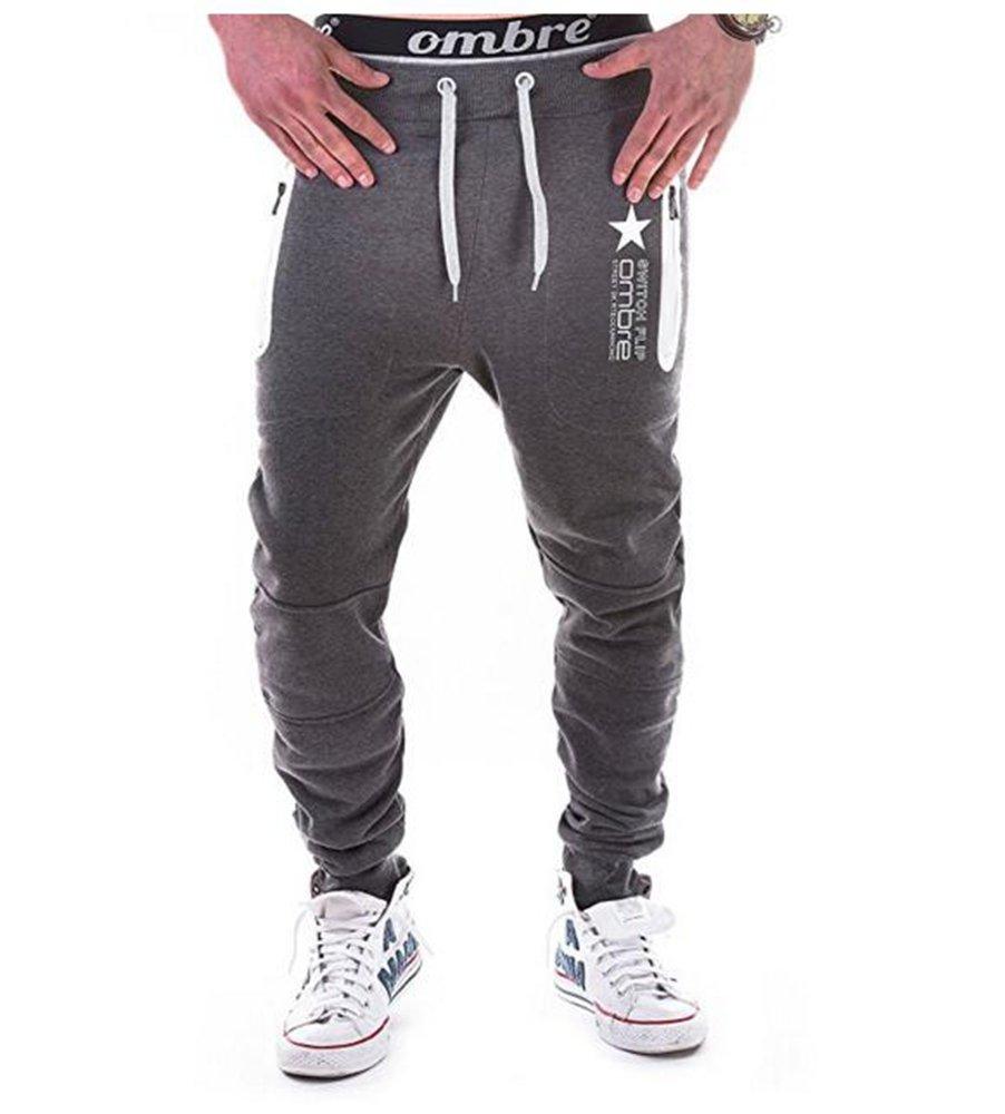 Minasan Herren Sommer Freizeit Sport Lange Hosen Hiphop Fitnesshose Jogginghose mit Taschen und Kordel