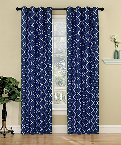 bednlinens 2 piece set sea glass trellis pattern grommet window curtain navy blue
