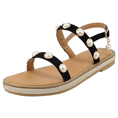 UH Damen Peeptoe Sandaletten Flach Riemchensandalen mit Perlen Strand Komfort Schuhe