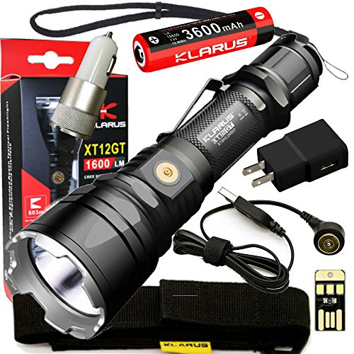 Klarus Upgraded XT12GT SUPER BUNDLE w/Advanced Tactical LED Flashlight, 18650 Battery, Magnetic Charging Cable, USB Cable, Holster, Lanyard, Car Adapter, Wall Adapter, and Mini USB Light by Klarus