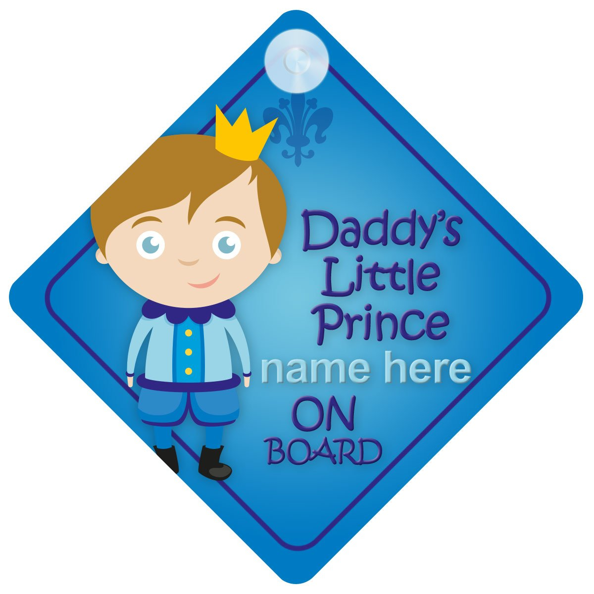 Daddy's Little Prince On Board Personalised Car Sign New Baby Boy/Child Gift/Present BDLP002