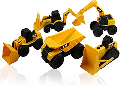 Caterpillar CAT Mini Machine Construction Truck Toy Cars Set of 5, Dump Truck, Bulldozer, Wheel Loader, Excavator and Backhoe Free-Wheeling Vehicles w/Moving Parts -Great Cake Toppers