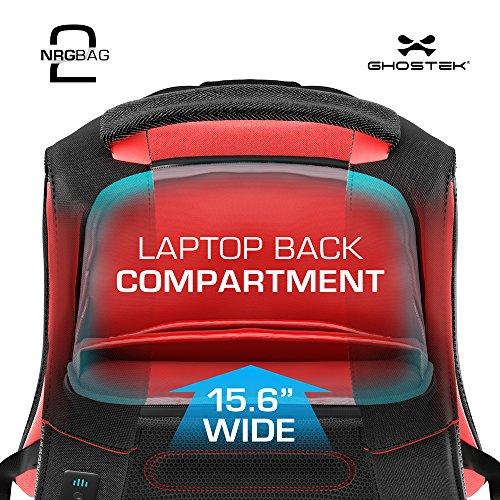Laptop Backpack, Ghostek NRGbag 2 Series Slim Durable Smart Tech Bag With 3 USB Charging Ports School Multifunction Bookbag for College Travel Protection 16,000mAh Macbook iPad Tablets (Teal) by Ghostek (Image #4)