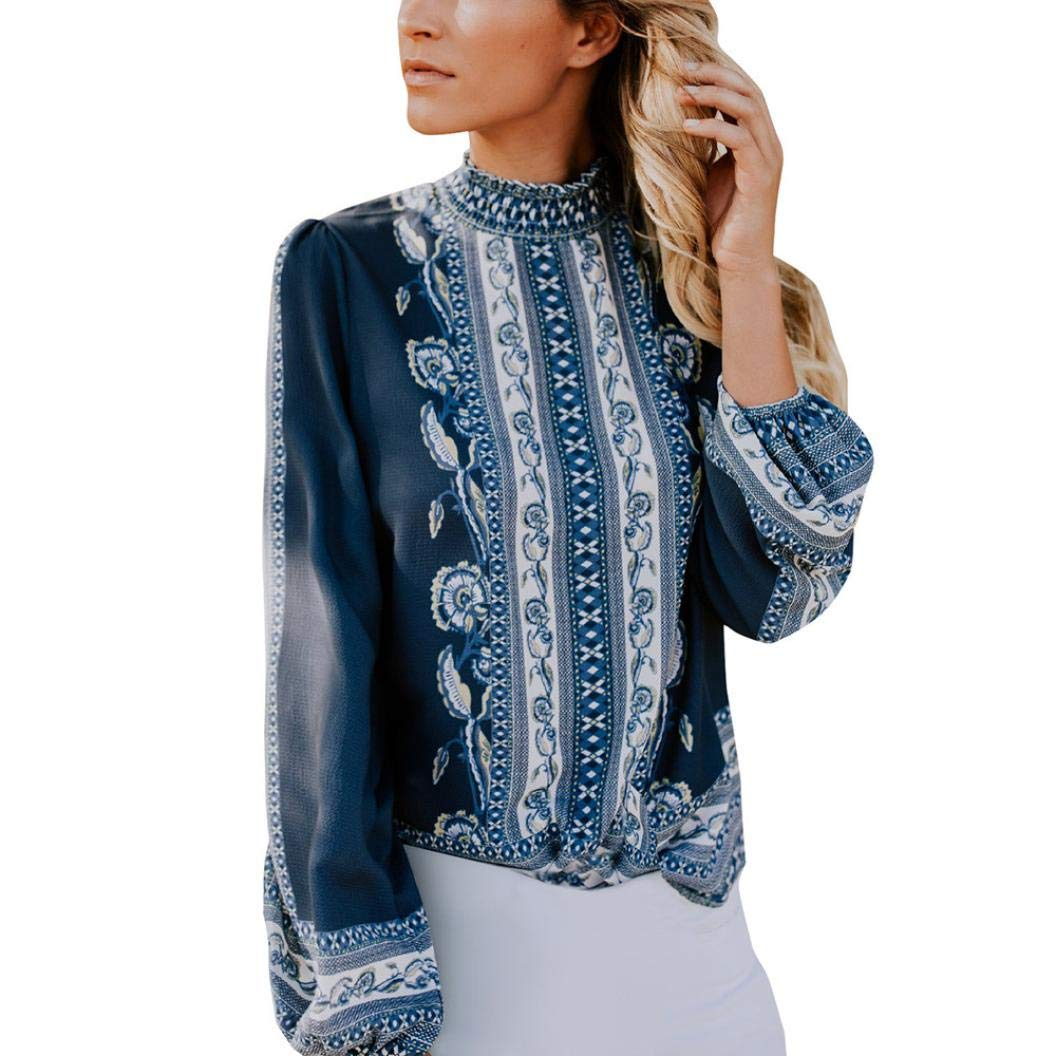 Women Vintage Boho Long Sleeve Shirt Ruffle Turtleneck Casual Blouse Loose Top iQKA0730