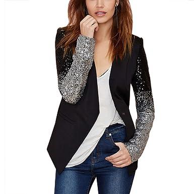 10ea71b2a18 Eiffel Women s Sequin Color Block Business Office Work Plus Size Blazer  Jackets Suit Top Coat at Amazon Women s Clothing store