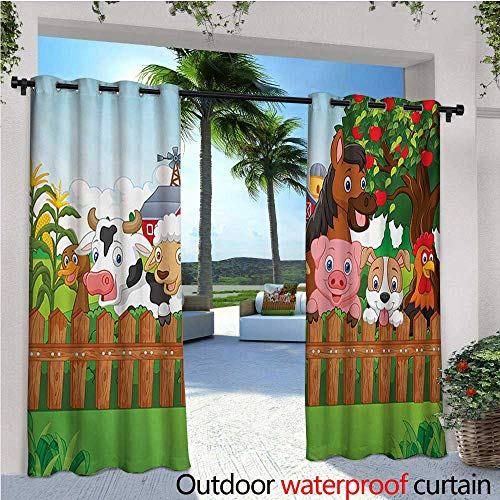 Cartoon Outdoor Privacy Curtain for Pergola Collection Cute Farm Animals on Fence Comic Mascots with Dog Cow Horse Kids Design Thermal Insulated Water Repellent Drape for Balcony W108
