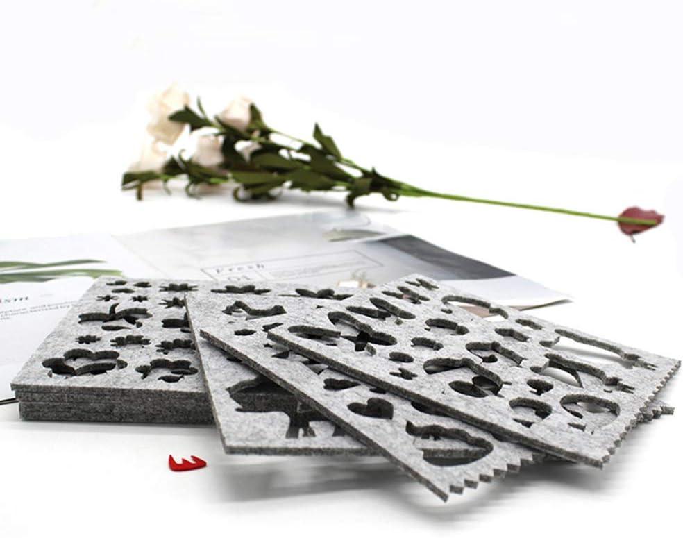 AchidistviQ 7Pcs Non-Woven Fabric Felting DIY Craft Applique Stencil Mould Sewing Accessories for Kitchen 7pcs