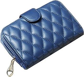 Wallet Slim Pour Wallet Femmes court Sheepskin Mesdames Zipper, Bleu Blancho Bedding