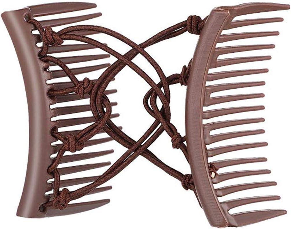Sidougeri - Pinza para el pelo con doble peine, elástica, sin pliegues, soporte para coleta de caballo en horquillas para el pelo