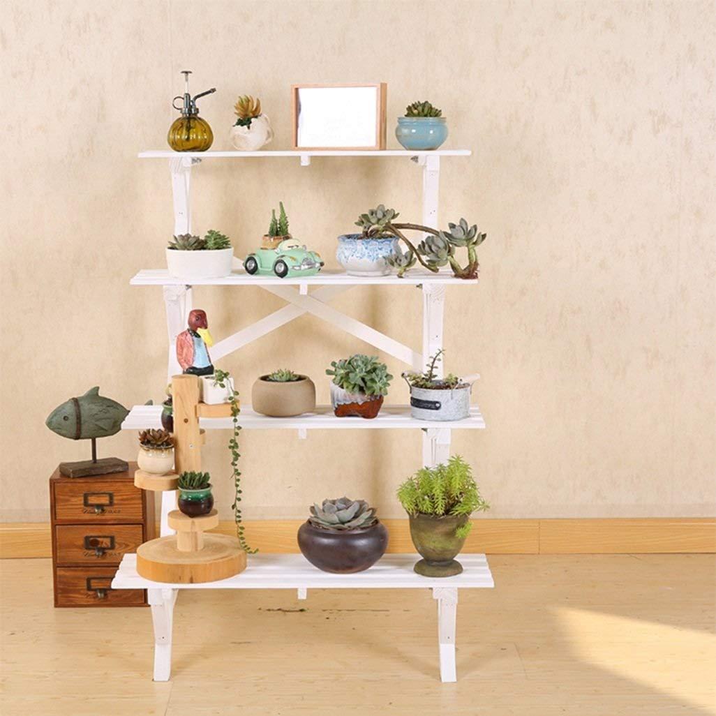 Home-FLW Scaffali angolari in Legno per scaffali da 4 Fiori per scaffali per vasi di Piante Scaffali per scaffalature per Interni da Esterno (Dimensioni   64x67x94cm)