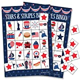 Patriotic Stars and Stripes Bingo Game for Kids - 24 Players