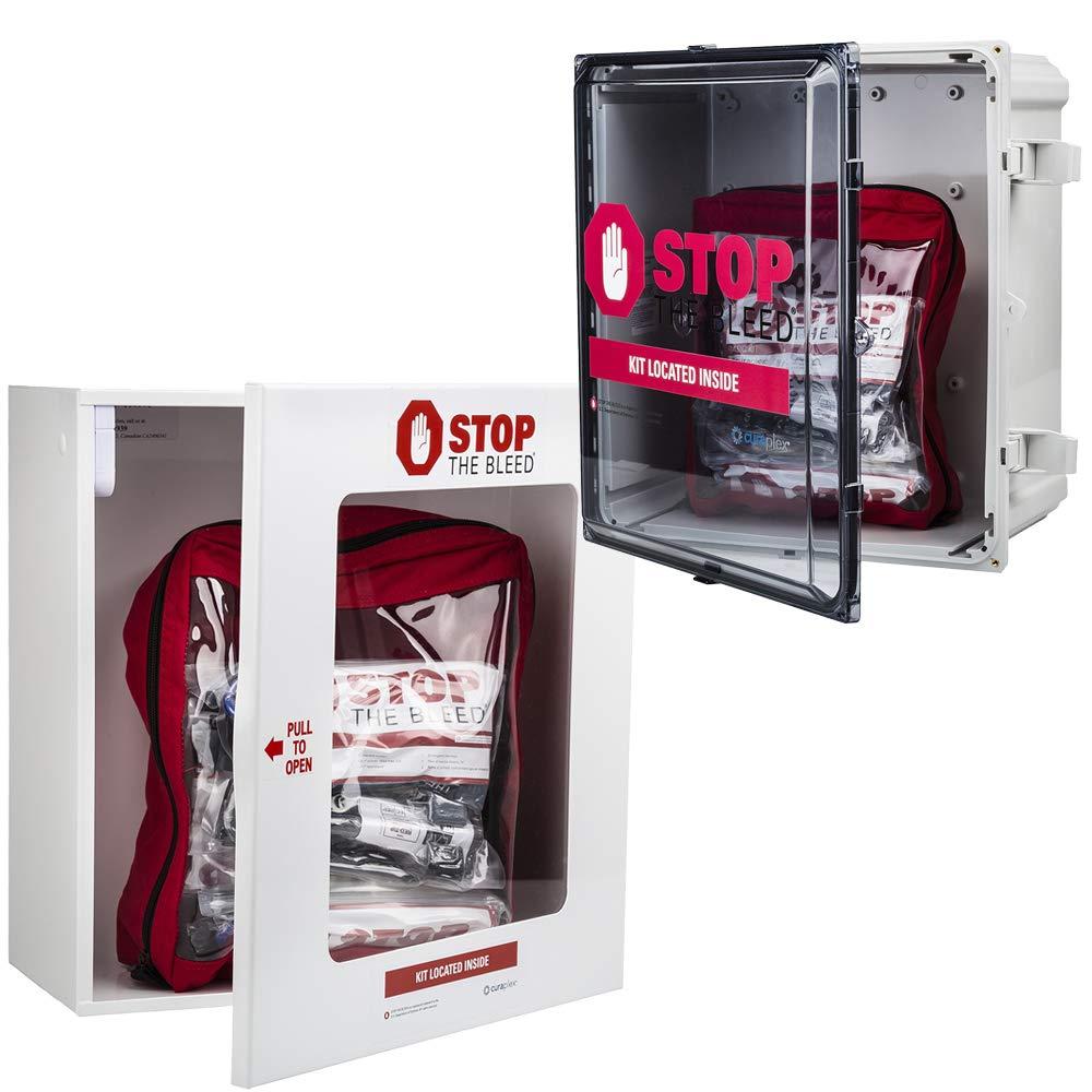 CURAPLEX Stop The Bleed Wall Cabinet. White Metal, Custom with CURAPLEX Logo