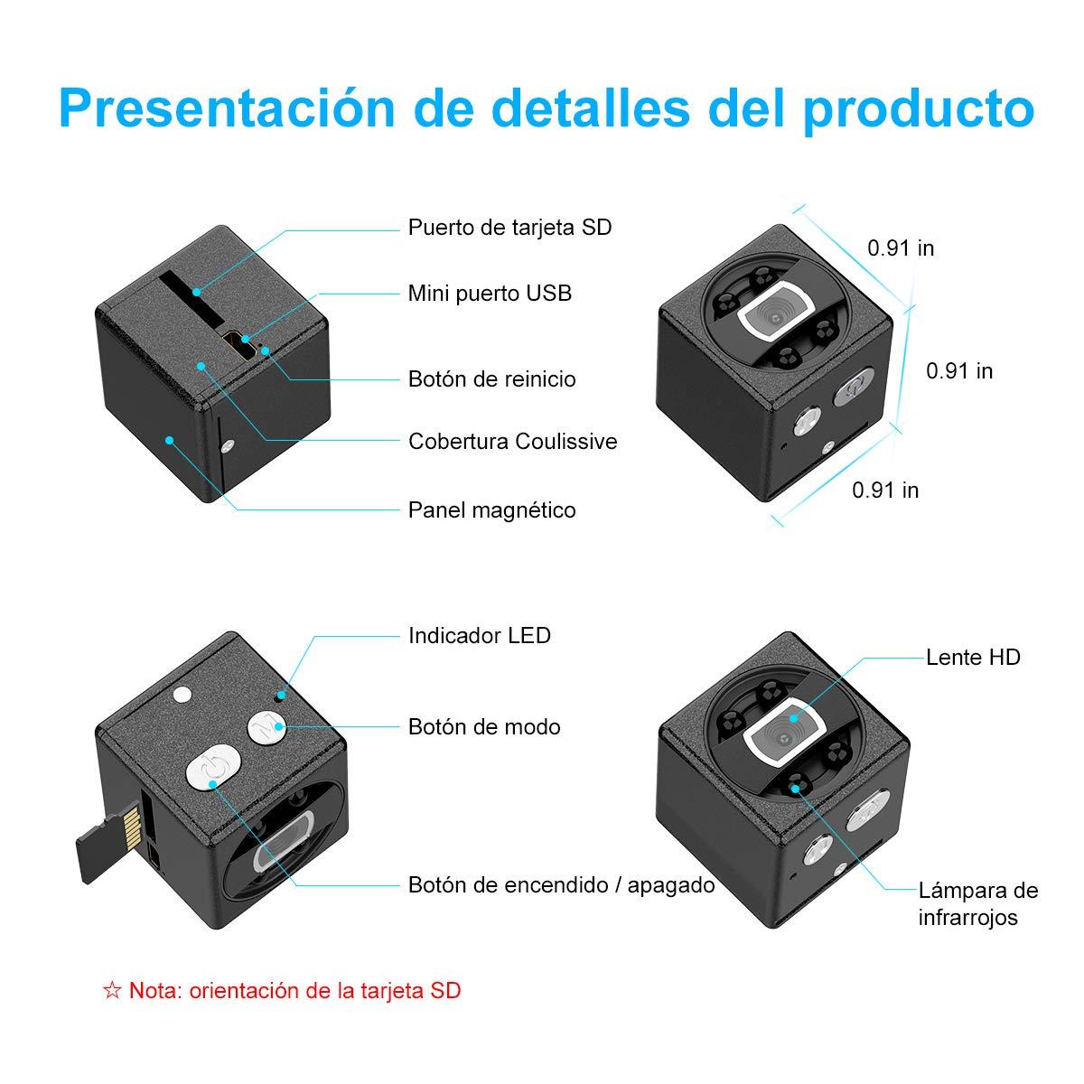 FLYLINKTECH Mini cámara espía Oculta con Tarjeta SD de 32 GB, batería Mini cámara de Video grabadora HD Mini cámara de vigilancia Videocámara con ...