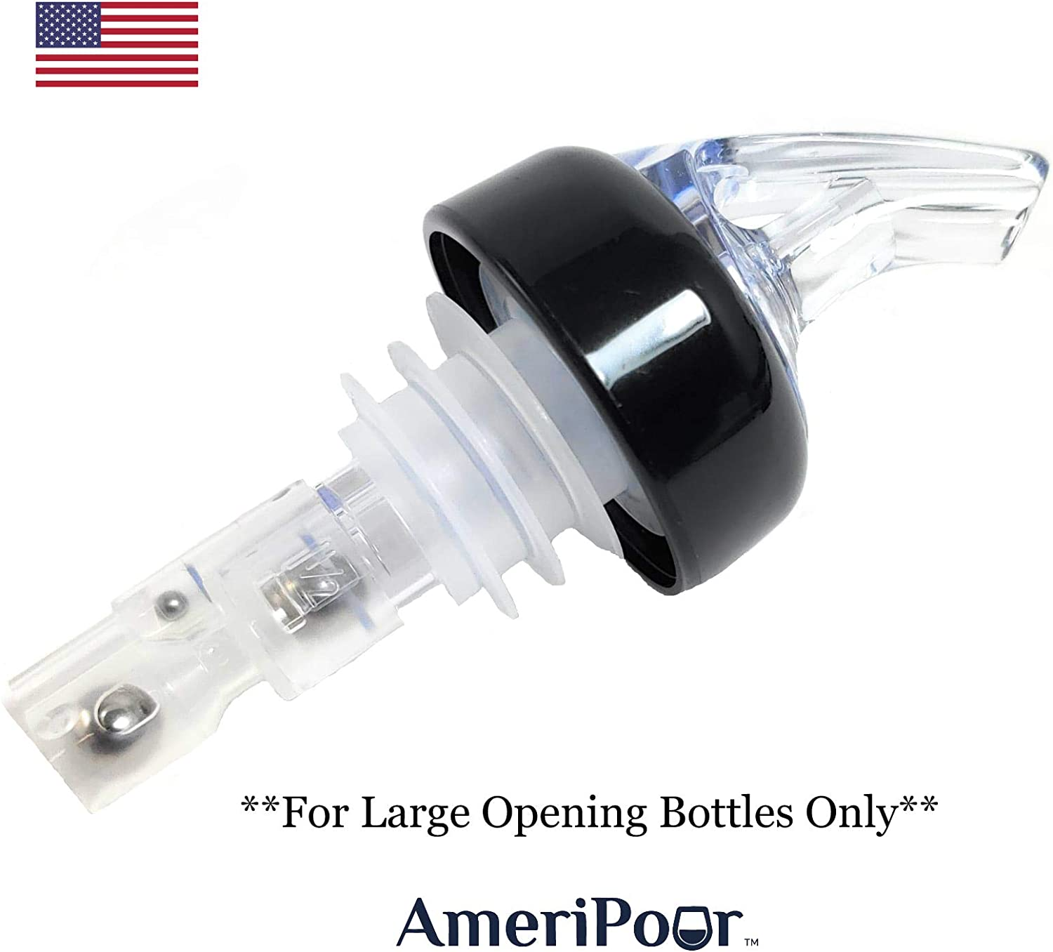 .75 Just A Perfect Cocktail Pour Everytime Bar Spouts That Dont Leak Great for Wine Too! Made 100/% In The USA Collared Measured Pourer AmeriPour 3pk No Cracks Liquor Bottle Pourers -