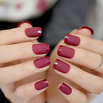 Amazon.com : Gradient French Matte Fake Claret-Red Wine Black Frosted False Nail Tips Square Top Nails Art For Bride Party Wear Z864 : Beauty