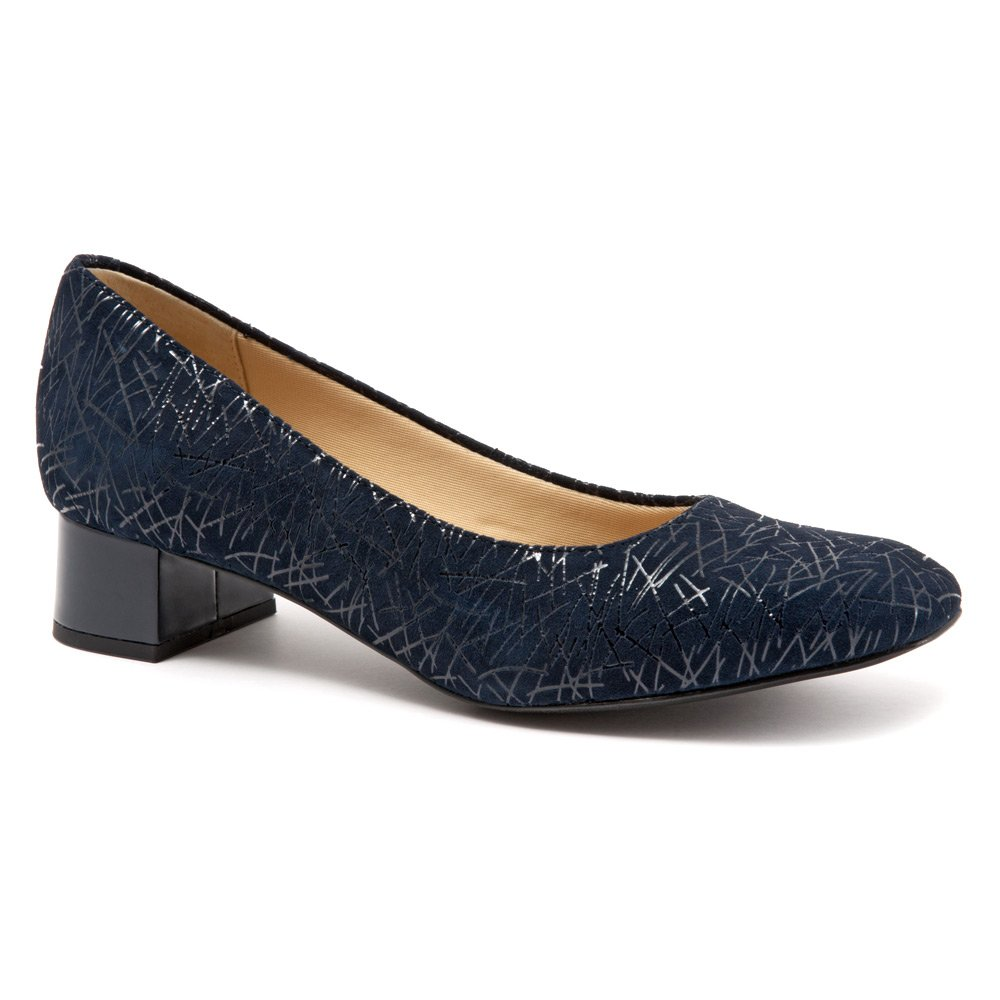 Trotters Women's Lola Dress Pump B019QT4YOS 7 3A US|Navy Graphic Embossed Leather
