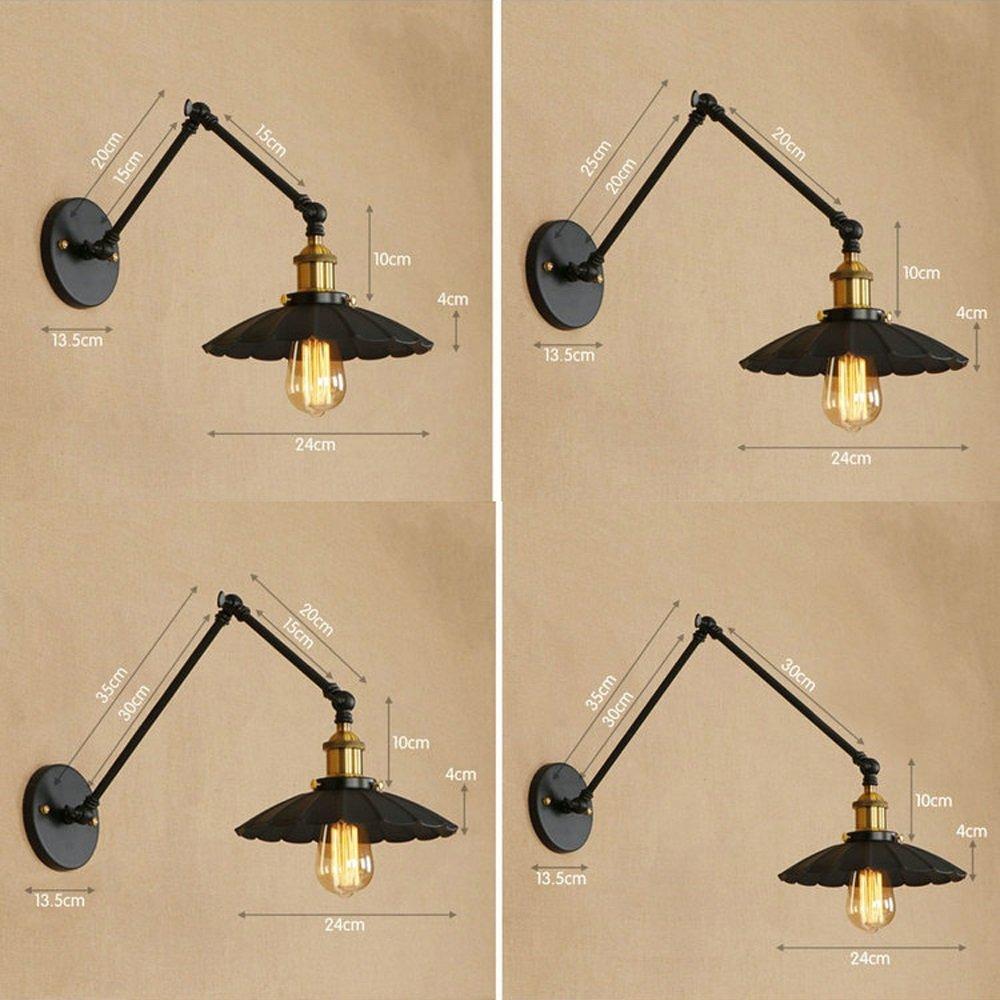 Crayom Lampade da parete a braccio lungo doppio swing regolabile bilancieri LED applique da parete in metallo E27 paralume in ferro di loto personalit/à coperta interna apparecchio di illuminazione