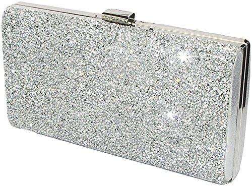 Covelin Women's Handbag Envelope Rhinestone Evening Clutch Bag Hot Silver