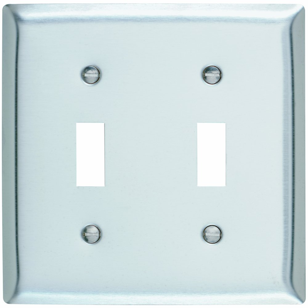 Pass Seymour Sl703cc12 Stainless Steel Wall Plate Two Gang Power 2 Outlet Wiring 430 Easy Install Electrical Distribution Plates