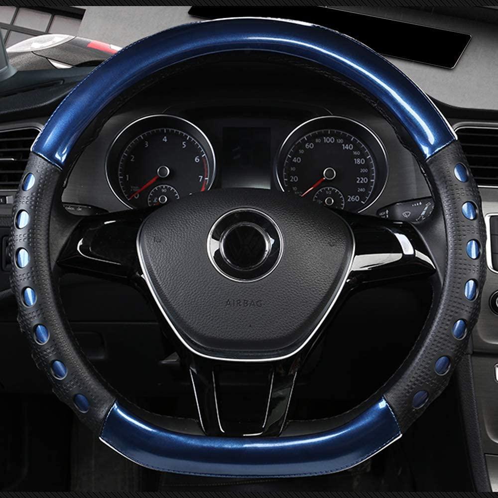 Universal Fit D-Type Car Steering Wheel Cover 37-38CM//15 Anti Slip Laser Brushed Leather Breathable Protector Car Accessory Heavy Duty Year Round Use for Truck SUV Van,Blue