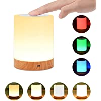 Touch lamp Comkes Night light,Bedside Table Lamps for Bedrooms, Rechargeable Portable Night Light with Dimmable 2800K-3100K Warm White Light& Color Changing RGB