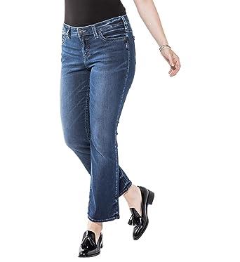 e8d0df1a1f3fa Amazon.com  Silver Jeans Women s Plus Size Aiko Mid-Rise Slim ...